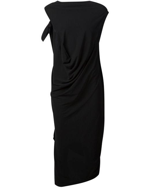 TVSCIA   Женское Чёрный Cotton Draped Asymmetric Dress From
