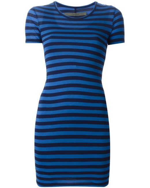Enza Costa | Женское Синий Tonal Cotton Striped Fitted Dress From