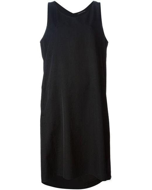 Yohji Yamamoto   Женское Чёрный Wool Draped Shift Dress From Featuring A