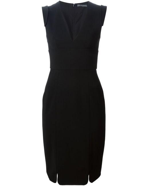 Alexander McQueen | Женское Чёрное Платье C V-Вырезом