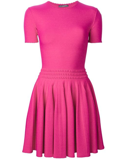 Alexander McQueen   Женское Fuchsia Pleated Mini Dress From Featuring A