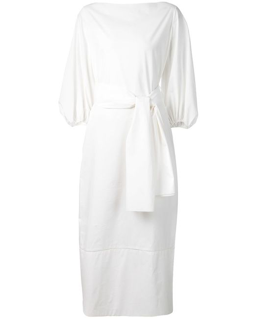 The Row | Женское Cotton Boat Neck Dress From Featuring Three-Quarter
