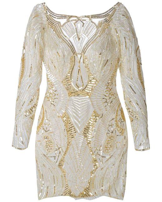 Zuhair Murad | Женское And Cream Silk Blend Sequinned Dress From