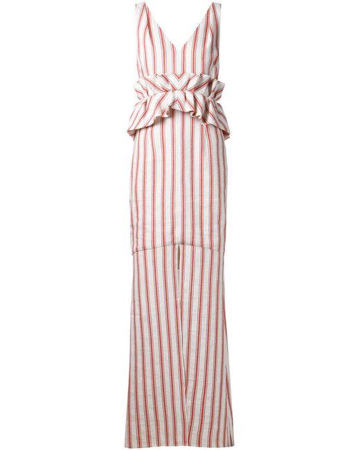 HELLESSY | Женское Белый Ecru And Poppy Linen Frida Striped Dress
