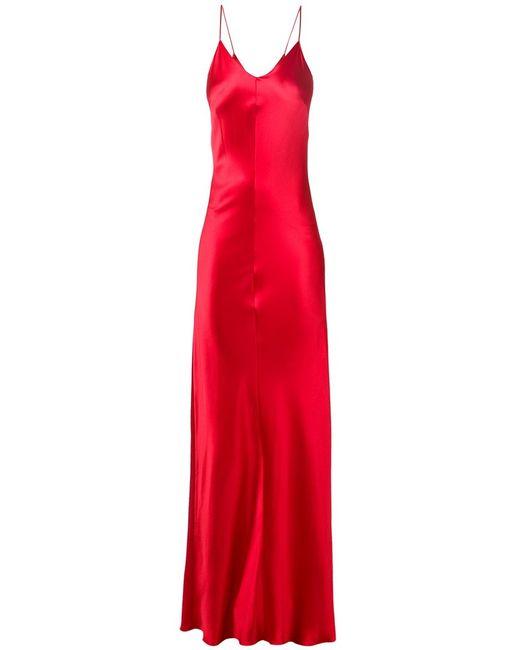 JUAN CARLOS OBANDO | Женское Красный Silk Spaghetti Straps Long Dress From