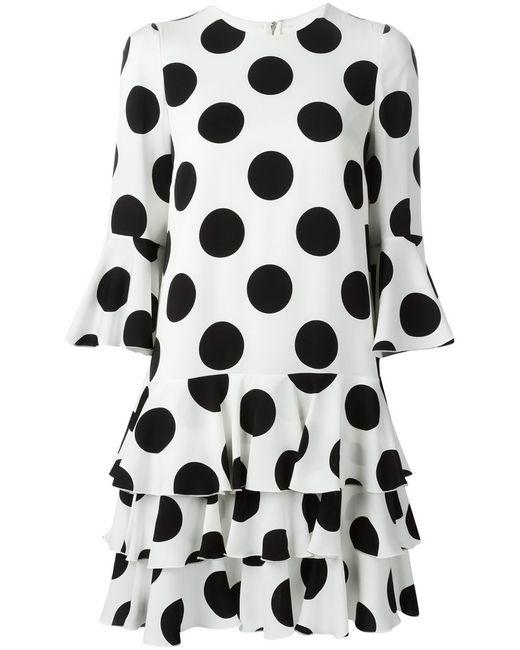 Dolce & Gabbana   Женское Белое Платье В Горох С Оборками