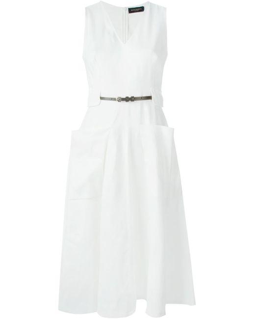 Piazza Sempione | Женское Белое Расклешенное Платье С Накладными Карманами