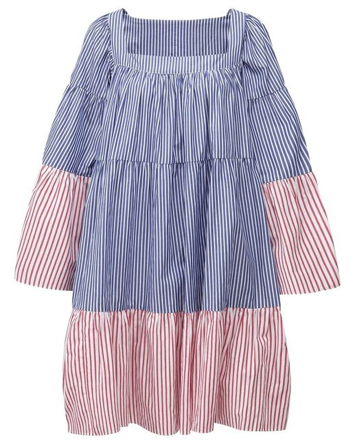 Lisa Marie Fernandez | Женское Синий And Ivory Cotton Striped Tiered Dress From