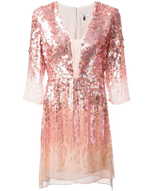 Halston Heritage | Женское Розовый Sequins Embroidered Dress From