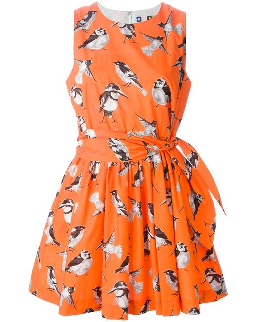 MSGM | Женское Cotton Bird Print Flared Dress From