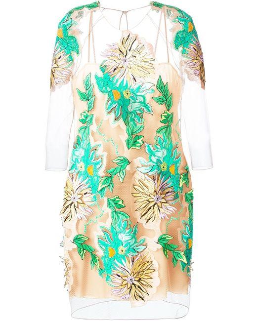 Blumarine | Женское Nude & Neutrals Silk Blend Embroidered Design Dress From