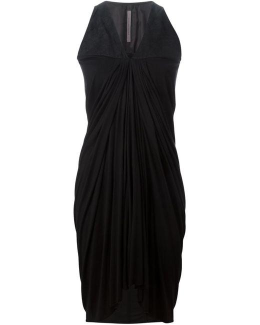Rick Owens Lilies | Женское Чёрный Cotton Blend And Lambskin Panelled Draped Dress
