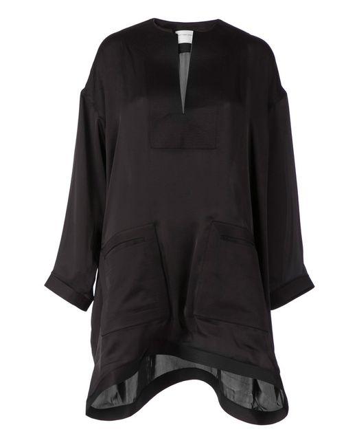 Maison Rabih Kayrouz   Женское Чёрное Платье-Туника Асимметричного Кроя