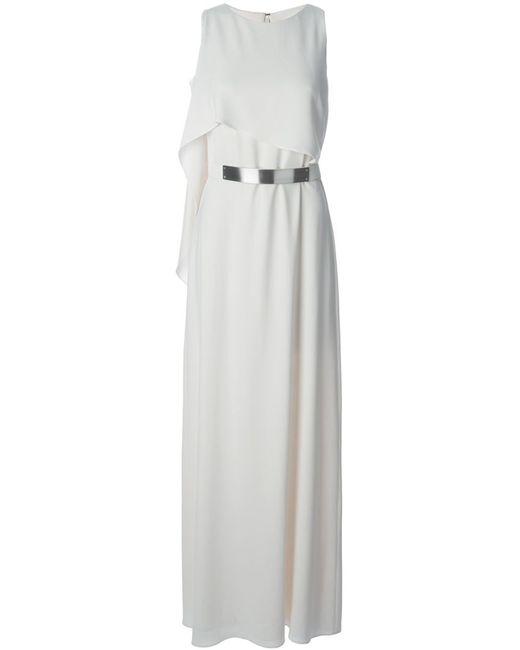Halston Heritage | Женское Белое Вечернее Платье С Серебристым Поясом