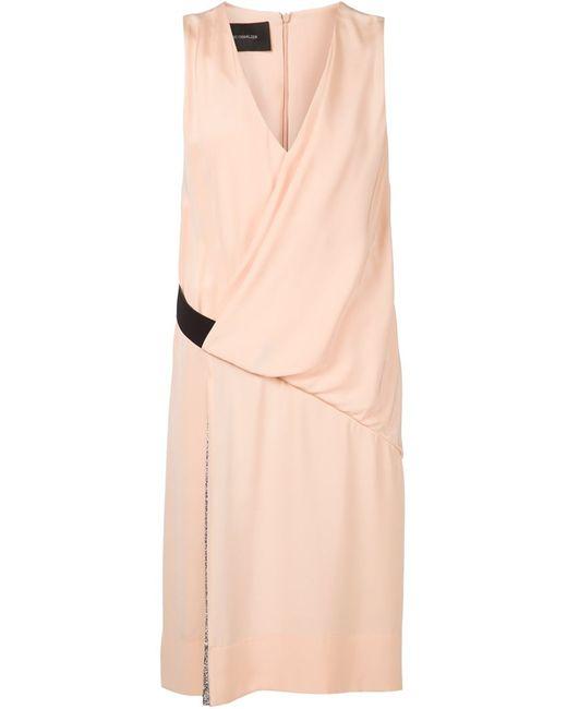 Cedric Charlier   Женское Розовое Драпированное Платье С Плиссированной Панелью