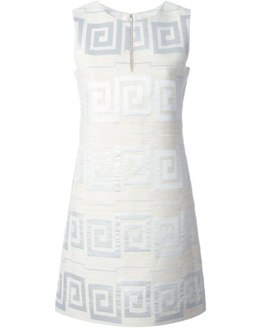 Tory Burch | Женское Nude & Neutrals Nude Silk-Cotton Blend Greek Motif Jacquard Dress
