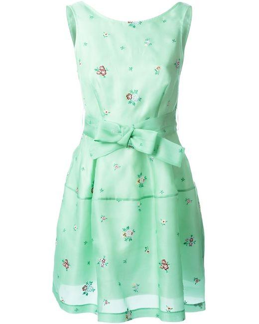 P.A.R.O.S.H.   Женское Зелёное Платье Без Рукавов С Цветочной Вышивкой
