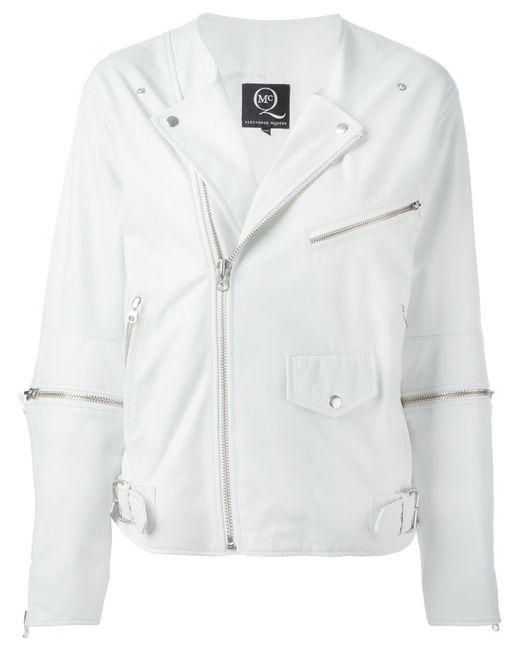 Mcq Alexander Mcqueen | Женская Белая Байкерская Куртка С Молниями На Рукавах