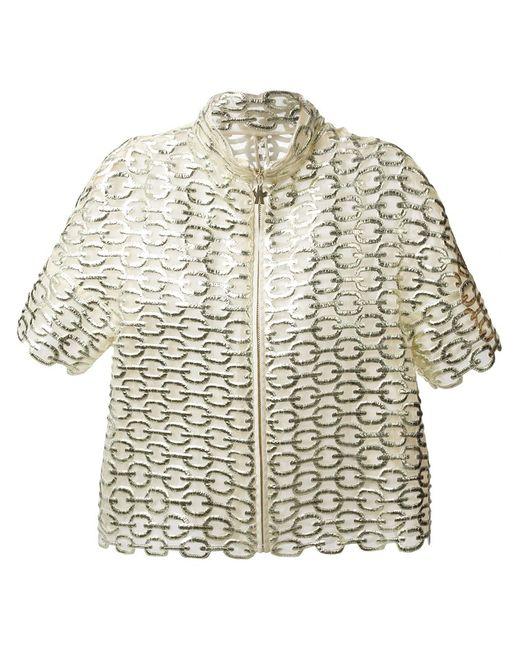 Moncler Gamme Rouge   Женская Серебристая Укороченная Куртка С Металлическим Отблеском