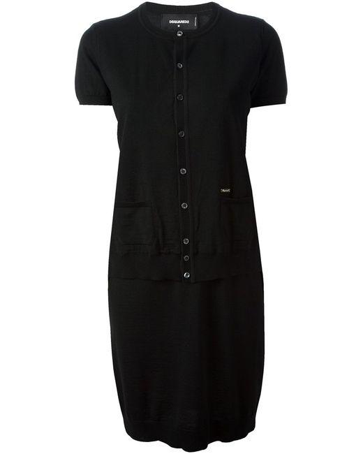 Dsquared2   Женское Чёрное Платье-Кардиган