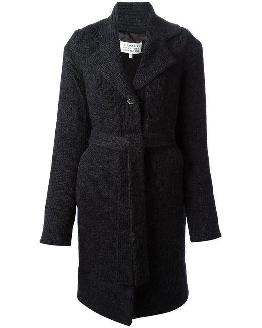 Maison Margiela   Женское Синее Вязаное Пальто-Кардиган С Поясом