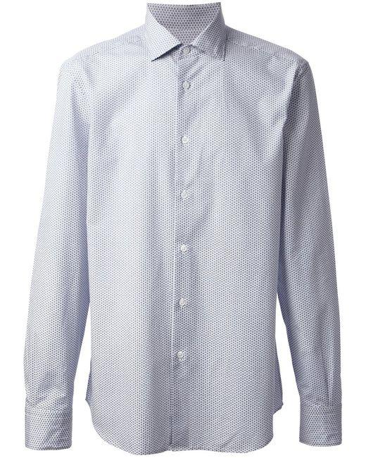 Z Zegna | Мужская Синяя Рубашка С Белым Узором