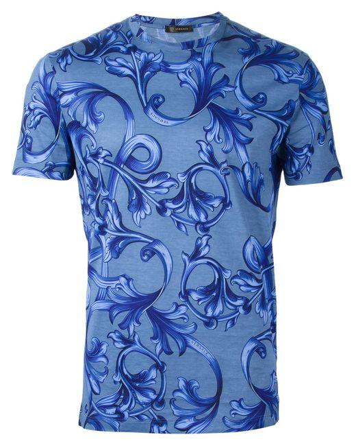 Versace | Мужское Tonal Cotton Baroque Print T-Shirt From