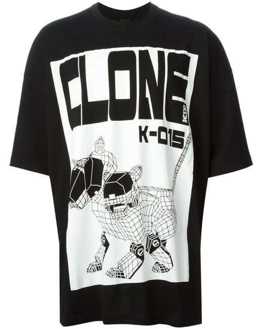 Ktz | Мужское Чёрный And Cotton Clone Print T-Shirt From