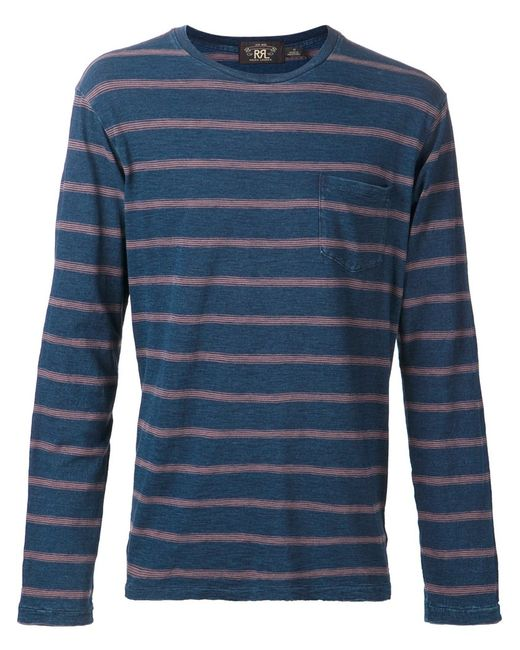 RRL | Мужское Синий And Cotton Long-Sleeved T-Shirt From