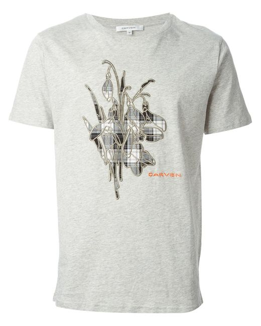 Carven | Мужское Серый Cotton Embroidered Snowdrop T-Shirt From