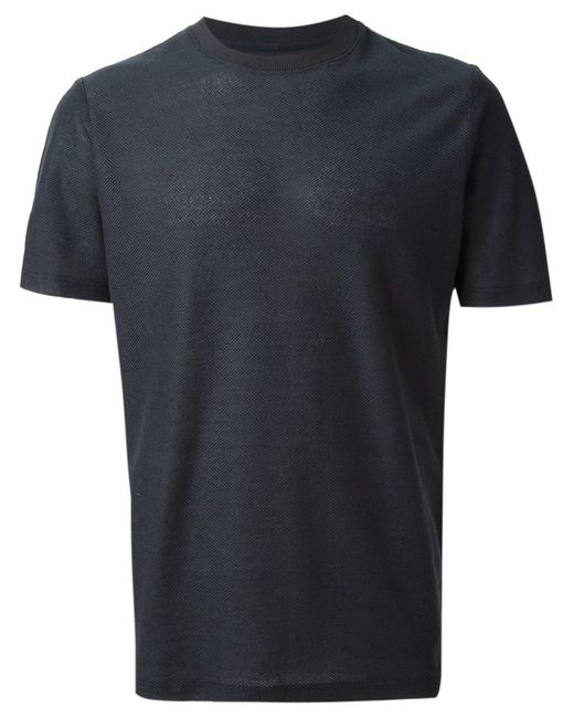 A Kind Of Guise | Мужское Navy Cotton Teris Textured T-Shirt From