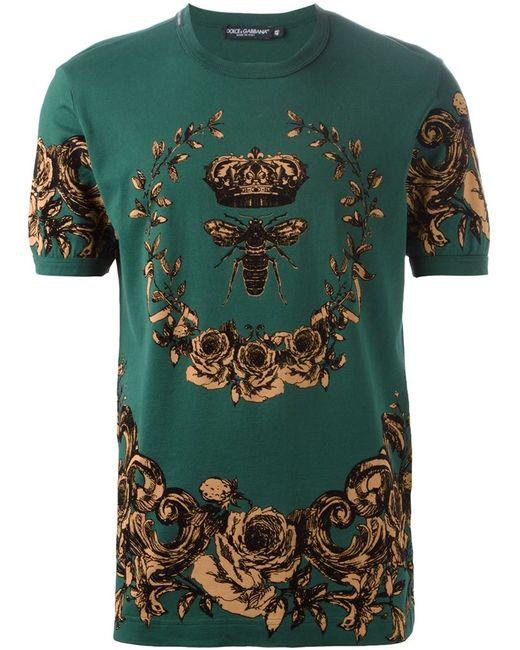 Dolce & Gabbana | Мужская Зелёная Футболка С Цветочным Принтом