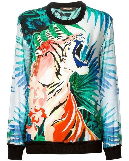 Roberto Cavalli | Женское Multicolour Multicoloured Silk Tiger Print Sweatshirt From Featuring
