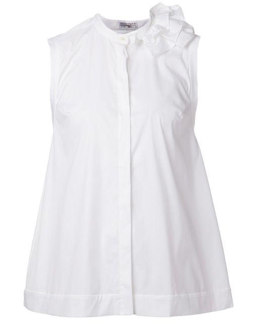 Brunello Cucinelli   Женская Белая Рубашка С Оборкой Без Рукавов