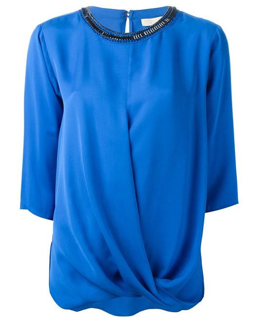 Michael Michael Kors | Женская Синяя Блузка С Драпировкой