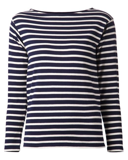 Saint Laurent | Женское Navy And Cotton Striped Sweater From Featuring