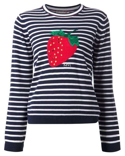 Muveil   Женское Синий Stripe And Strawberry Print Top