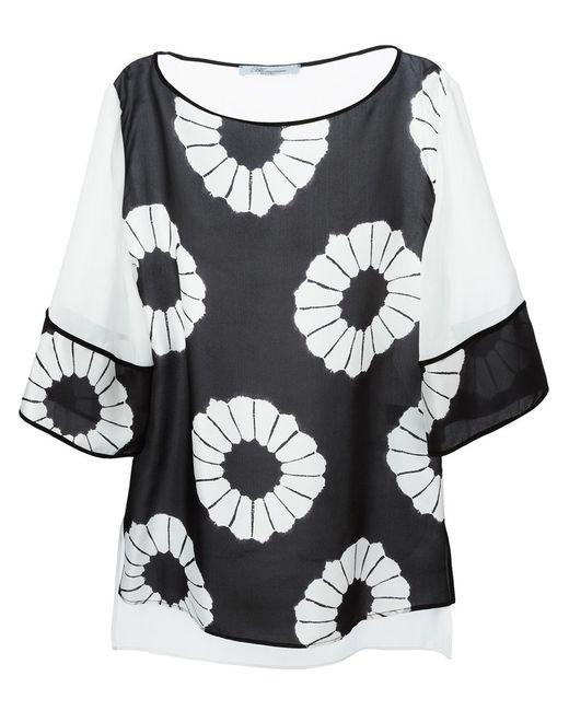 Blumarine   Женская Чёрная Блузка С Цветочным Принтом