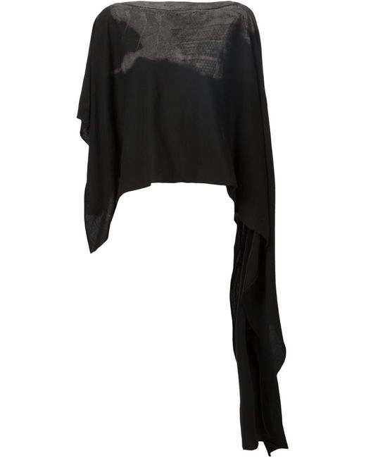 TVSCIA   Женское Cotton Printed Cropped Asymmetric Poncho From