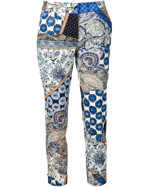 Etro   Женское Multicoloured Cotton Blend Cropped Trousers From