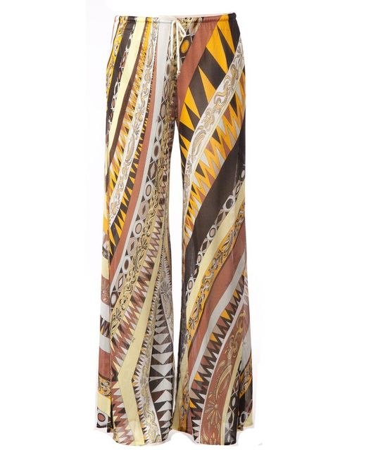 Emilio Pucci   Женское Оранжевый Multicoloured Wide Leg Printed Trousers From