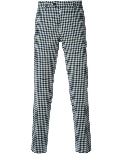 Etro | Мужское Серый Stretch Cotton Checked Trousers From