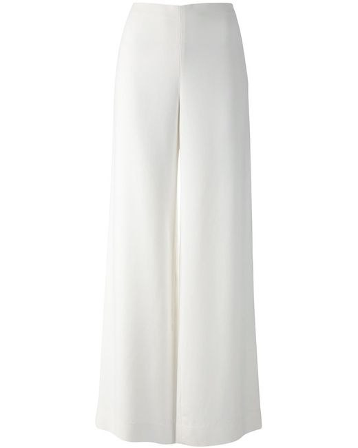 The Row   Женское Ivory Wide Leg Crepe Trousers From