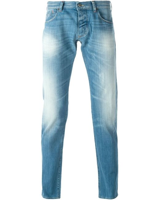 ARMANI JEANS | Женское Синий Denim Cotton Blend Stone Washed Jeans From
