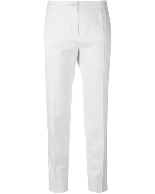 Blumarine   Женское Белый Cotton And Cotton Blend Front Pleat Trousers