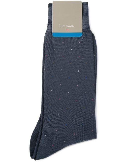 Paul Smith | Мужское Синий Cotton Blend Mini Spot Intarsia Socks From