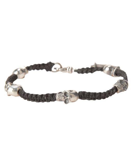 KING BABY   Женское Чёрный Woven Bracelet From Featuring Skull Charm Detailing