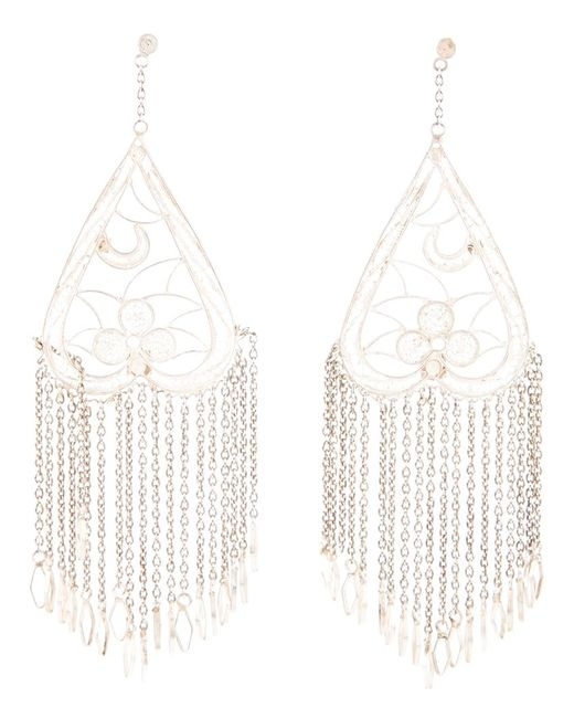 CLIZIA ORNATO | Женское Белый Filigree Col Earrings From Featuring An Upside