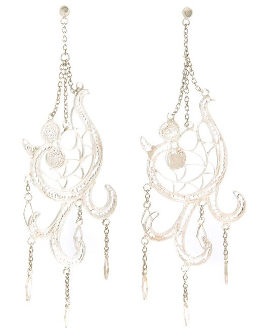 CLIZIA ORNATO | Женское Белый Filigree Lo Earrings From Featuring Hanging Chain