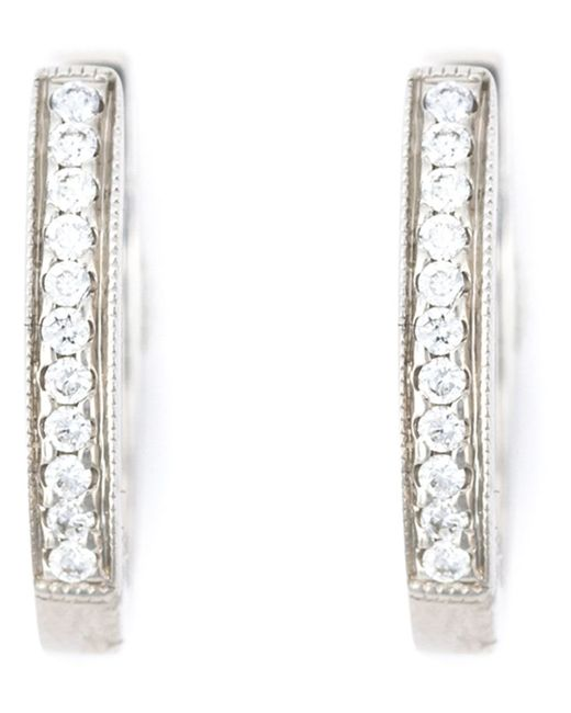 WOUTERS & HENDRIX GOLD   Женское Серебристый Diamond Hoop Earrings From Featuring Pave Set